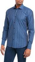 Bogosse Navy Jacquard Button-Down Shirt