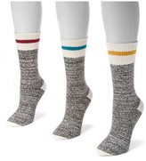 Muk Luks Women's 3 Pair Pack Striped Marl Boot Socks - Multicolor One Size