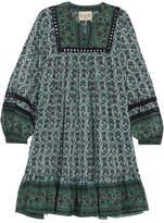 Sea Allura Printed Guipure Lace-trimmed Silk Crepe De Chine Mini Dress - Forest green
