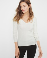 White House Black Market Petite Ribbed V-Neck Sweater