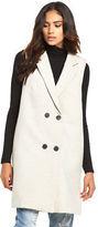 Vila Kimra Long Waistcoat in Light Grey Marl Size 8