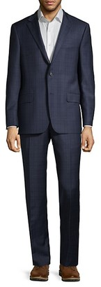 Hickey Freeman Classic-Fit Plaid Wool Suit