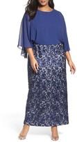 Alex Evenings Plus Size Women's Chiffon & Embroidered Lace Long Blouson Dress