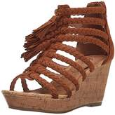 Sugar Women's Jungles Open-Toe Cork Braided Wedge with Tassels,6 M US
