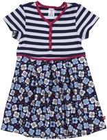 Zutano Blaue Blumen Pleated Dress (Toddler/Kid) - Navy-2T