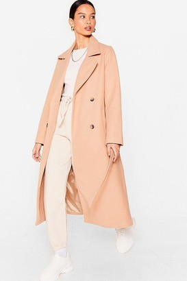 Nasty Gal Womens Love You Longline Belted Faux Wool Coat - Camel