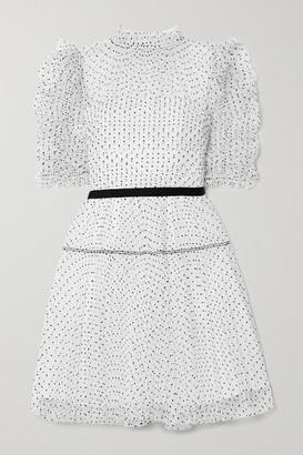 Self-Portrait Ruched Pleated Polka-dot Flocked Tulle Mini Dress - White