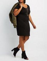 Charlotte Russe Plus Size Lattice-Front Bodycon Dress