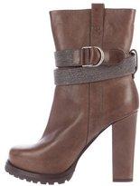 Brunello Cucinelli Monili-Trimmed Ankle Boots