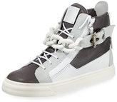 Giuseppe Zanotti Colorblock Leather Chain High-Top Sneaker