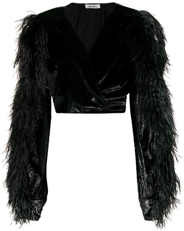 ATTICO velvet and feather crop-top