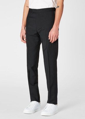 Men's Black Wool And Mohair-Blend Evening Trousers