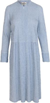 Mads Norgaard Crinckle Pop Dupina Dress Light Blue/White - 36/S   cotton