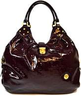 Authentic Misty Shiny Hobo 100% Genuine Cowhide Leather(From Italy) Handbag with Classic Style and Pattern Royal Color: MVP8805-PU