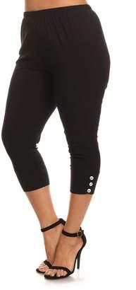 Seven Karat Women's Leggings black - Black Button-Hem Capri Leggings - Plus