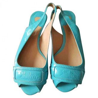 Chloé Turquoise Patent leather Ballet flats