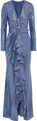Badgley Mischka Belted Draped Sequined Metallic Stretch-jersey Gown