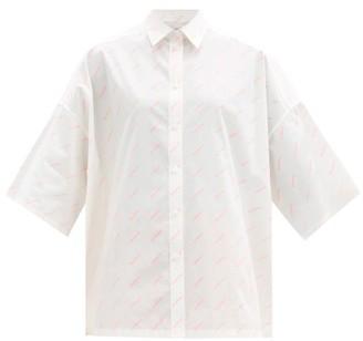 Balenciaga Logo-print Short-sleeved Cotton-poplin Shirt - White Print