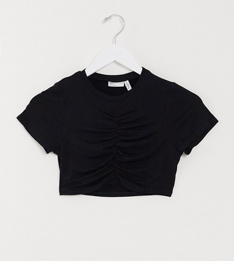 Asos DESIGN Petite crop top with ruched front in black