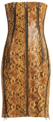 Richard Quinn Python-effect Leather Dress - Womens - Brown Print