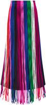 Barbara Casasola Multi Fringed Silk Long Skirt