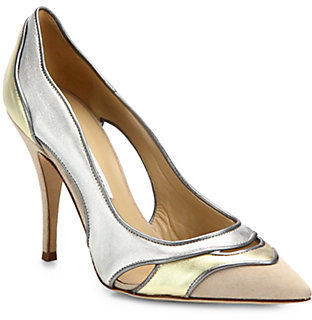 Diane von Furstenberg Bobbie Metallic Leather & Suede Pumps