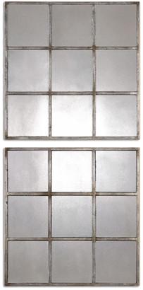 Uttermost Set Of 2 Derowen Squares Antique Mirrors