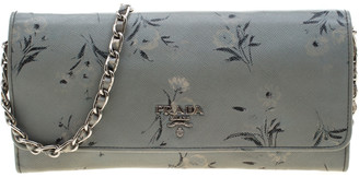 Prada Grey Saffiano Printed Leather Wallet On Chain