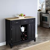 Home Styles 3-Drawer 41.75 in. W Black Buffet with Wood Top