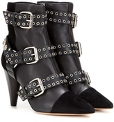 Isabel Marant Lysett Embellished Leather And Suede Ankle Boots