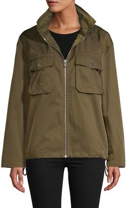 Karl Lagerfeld Paris Hooded Logo Script Windbreaker Jacket