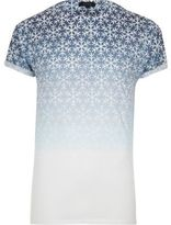 River Island White Faded Snowflake T-shirt