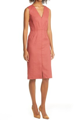 Tailored by Rebecca Taylor Sleeveless Linen Blend Sheath Dress