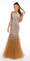 Camille La Vie Beaded Mesh Trumpet Illusion Evening Dress
