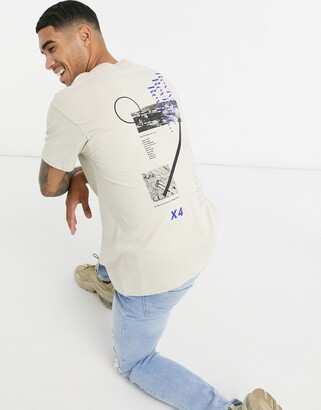 Topman T-shirt with front and back print in sand