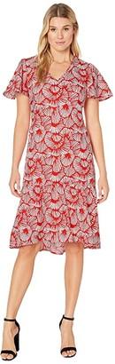 Tommy Bahama Shell We Dance Short Sleeve Midi Dress (Poppy Red) Women's Dress