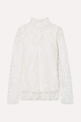 Chloé Cotton-blend Lace Turtleneck Blouse - White
