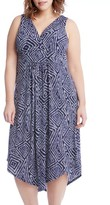 Karen Kane Plus Size Women's Asymmetrical Hem Geo Print Midi Dress