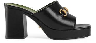 Gucci Mid Heel Platform Sandals in Black | FWRD