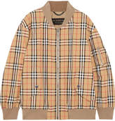 Burberry Checked Cotton-twill Bomber Jacket - Sand