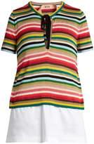 No.21 NO. 21 Multicoloured striped knit top