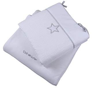Clair De Lune White Silver Lining Cot/Cot Bed Quilt and Bumper Bedding Set