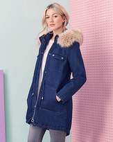 Fashion World Luxe Denim Parka With Faux Fur Hood