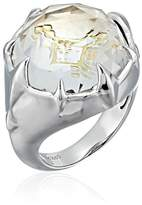 """Judith Ripka Windrose"""" Windrose- 18mm pave prong polished ring with hidden star with Rock Quartz and Diamond Ring, Size 7"""