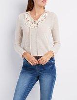 Charlotte Russe Crochet-Trim Lace-Up Top