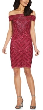 Adrianna Papell Off-The-Shoulder Embellished Sheath Dress