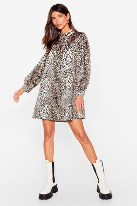 Nasty Gal Womens Smock It Outta the Park Animal Mini Dress - Brown - 6