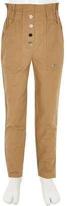 River Island Girls beige paperbag cargo trousers