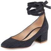 Gianvito Rossi Petra Block-Heel Ankle-Wrap Pump, Denim