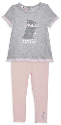 Juicy Couture Baby Girl's 2-Piece Embellished Tee Leggings Set